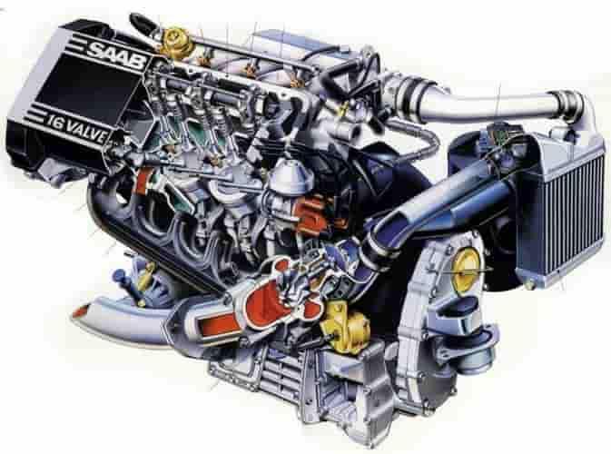 Rebuilt Saab engine 1